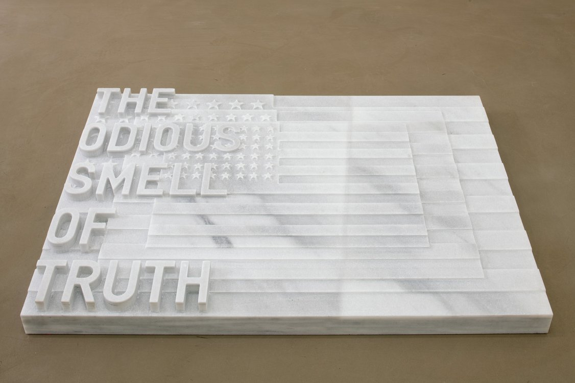 Rirkrit Tiravanija, untitled 2020 (the odious smell of truth) (three flags, 1958), 2020