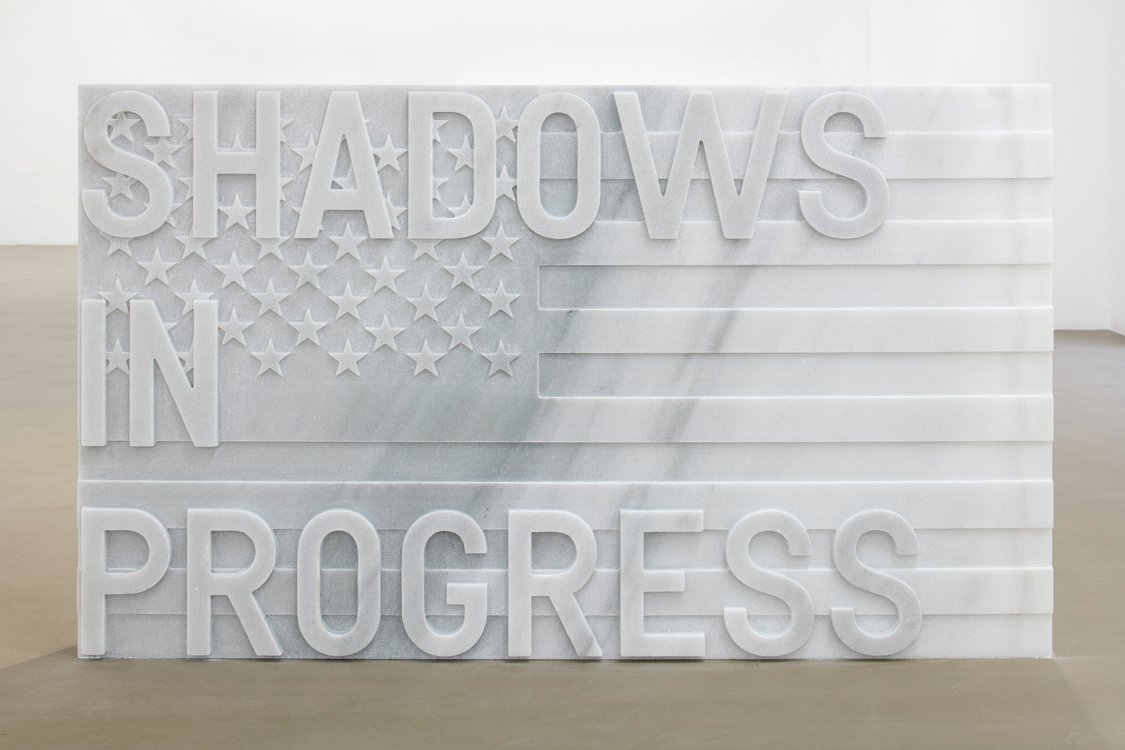 Rirkrit Tiravanija, untitled 2020 (shadows in progress) (flag, 1967), 2020