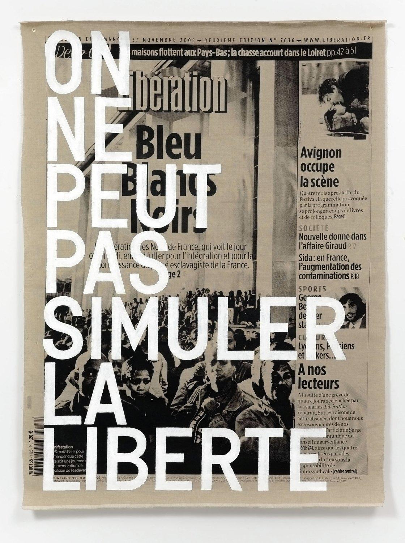 <p>Rirkrit Tiravanija-untitled 2012 (bleu blancs noir) (raw)-2012-Galerie-Chantal-Crousel-Paris.</p>